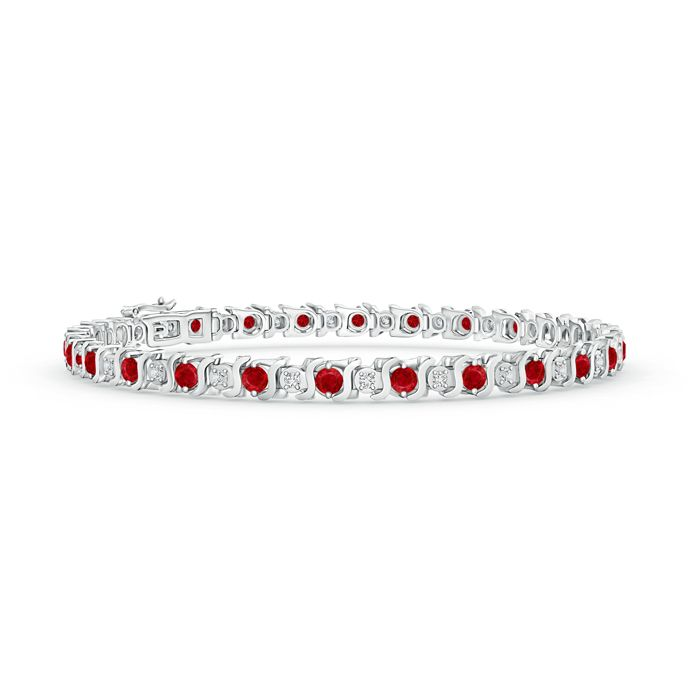 S Curl Ruby and Diamond Tennis Bracelet. The ruby bracelet is fashioned in 14k gold with 25 rubies and 25 sparkling white diamonds in prongs.