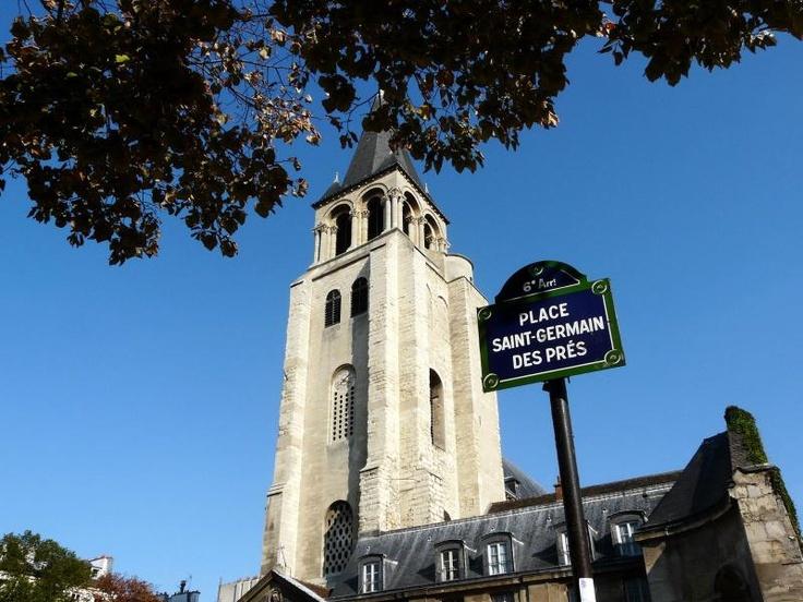 Saint-Germain-des-Prés is an area of the 6th arrondissement of Paris, France, located around the church of the former Abbey of Saint-Germain-des-Prés.  Home to a number of famous cafés, such as Les Deux Magots and Café de Flore, the Saint-Germain-des-Prés area was the center of the existentialist movement (associated with Jean-Paul Sartre and Simone de Beauvoir).