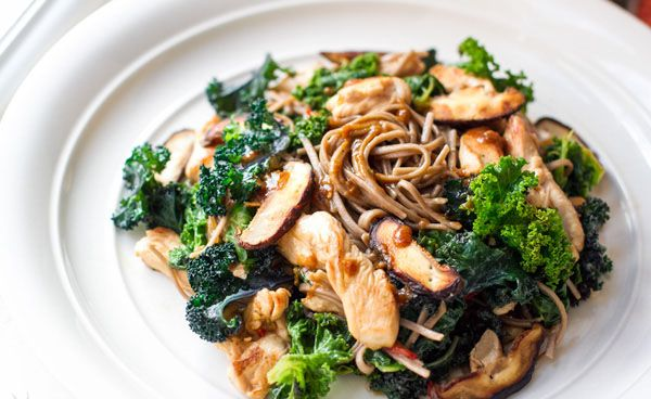 Well Nourished ⎮ Buckwheat Noodles with Chicken, Kale & Miso Dressing. This…