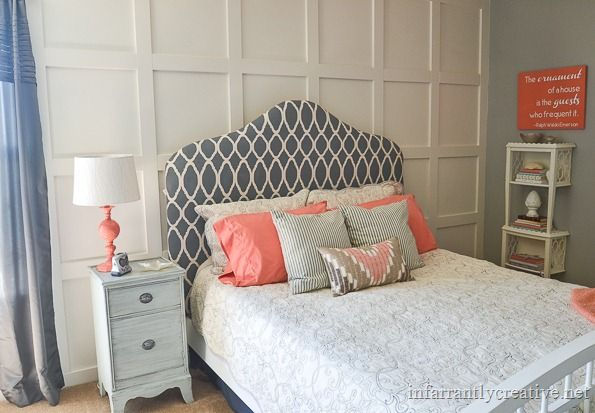 Gorgeous gray and coral bedroom from Beckie at Infarrantly Creative.