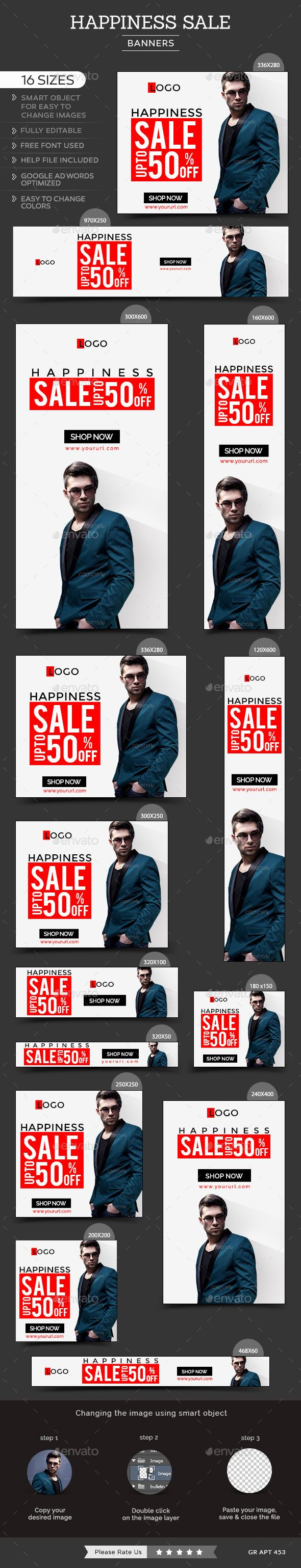 16 awesome quality banner template PSD files ready for your Services, products, campaigns.Each PSD files are layered and fully organized. You can use this banners for google adwords & Adroll too. ( All google adwords, Adroll banner sizes included).