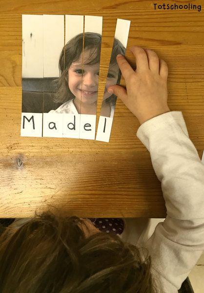 http://www.totschooling.net/2015/02/photo-name-puzzle.html: Name schreiben üben, lernen Namen, Foto Puzzle