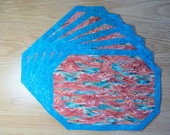 Quilted Placemat 4 set - Wheel Barrel with Pumpkins   via Etsy.