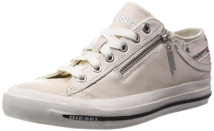 Diesel Expo Zip Off White Womens Leather Lo Trainers Shoes-8. Diesel Expo-Zip Low womens leather trainers, classic trainer stylle with zip on the side. A perfect pair of leather trainers.