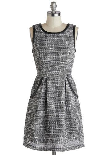 Theater Lobby Dress by Tulle Clothing - Grey, Black, Pockets, Trim, Work, A-line, Sleeveless, Scoop