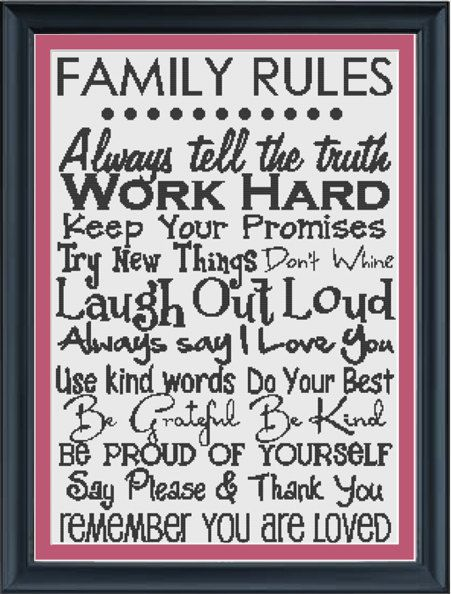 Family rules --- cross-stitch pattern-except I would just write it and put it in a frame because it would take forever to cross stitch!