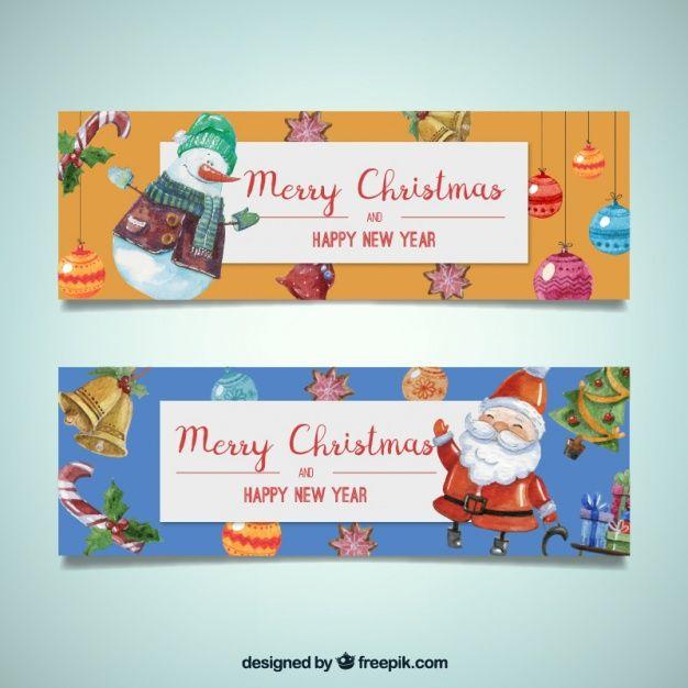 Баннеры милым акварельными рождественские персонажи Бесплатные векторы