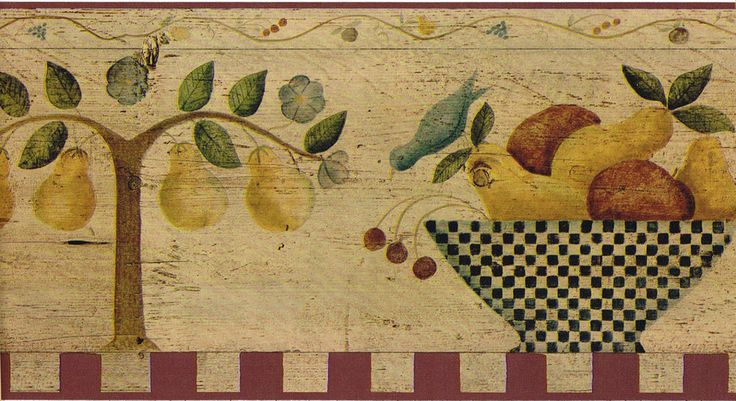Tuscany Country Vintage Fruit Bowl Kitchen Pear Wall paper Border Carol Endres #WallpaperBorders