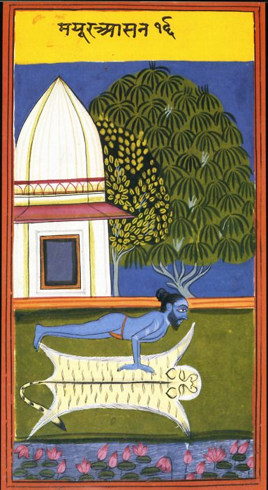 Image from a manual of Haya Yoga postures from the Punjab dated about 1830. Painted on thick card. More here: http://www.flickr.com/photos/theunutterable/sets/72157615812238483/