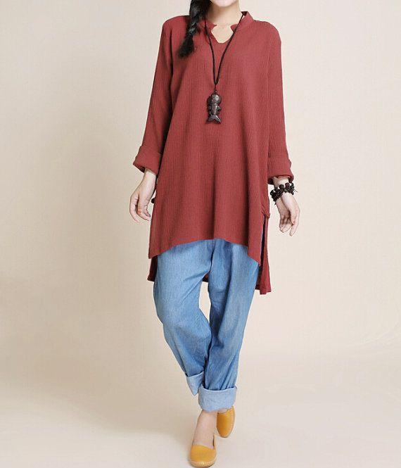 """Fabric: Cotton, linen Color: Buddhist red, White Size Shoulder 41cm/ 16"""" Bust 104cm/ 41"""" Sleeve 48cm/ 19"""" Waist 106cm/ 41"""" length 74-85cm/ 29-33"""" Hem 124cm /48 """" Have a... #white"""