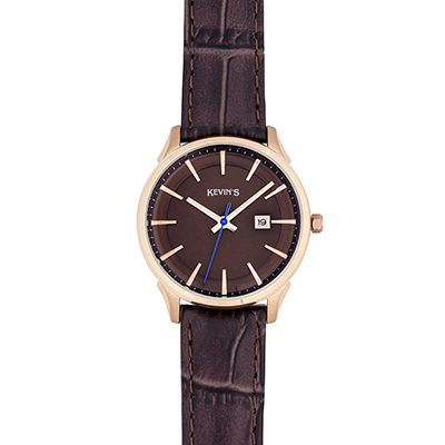 Reloj para Dama, tablero redondo, cafe, index, analogo, pulso cuero cafe, calendario