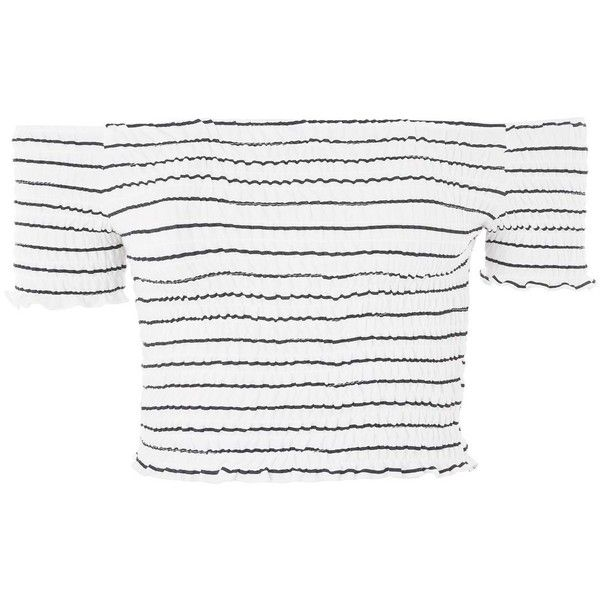 Topshop Stripe Shirring Bandeau Top ($21) ❤ liked on Polyvore featuring tops, topshop, navy blue, white crop top, white bandeau top, ruched top, crop top and striped crop top