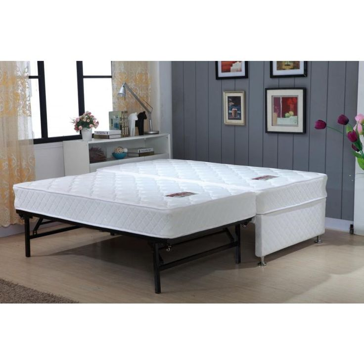 King Single White Bed Frame w Trundle, 2 Mattresses in