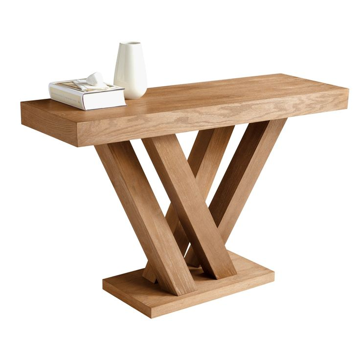 This unique console table comes in a unique V-shape and is available in a lovely espresso or slightly distressed oak veneer with a driftwood finish. Four legs sprout from the flat base in a diagonal formation.