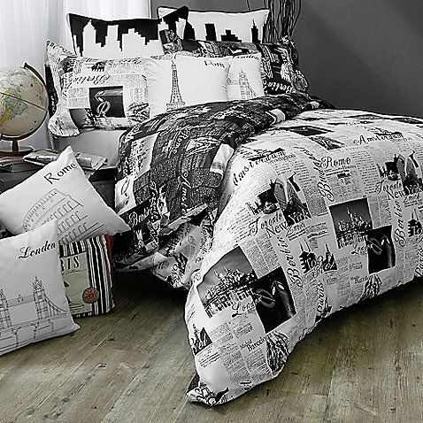 Bed Bath & Beyond:  Take a world tour of the world's most beautiful cities with the Passport London and Paris Reversible Duvet Cover Set. Adorned with soft scripted and elegant typeface in black and grey, the unique bedding is the perfect addition to a traveler's bedroom.