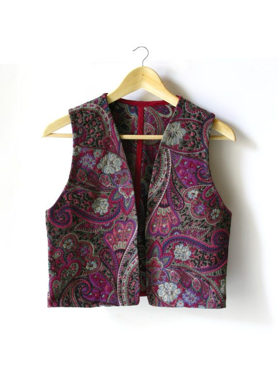 Paisley Purple Pink Vest  1970 by ChezMargotVintage on Etsy, $45.00