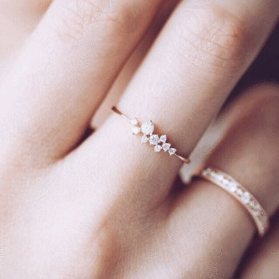 Teeny, tiny rings. Perfect for stacking for those of us who are not blessed with long slim fingers!