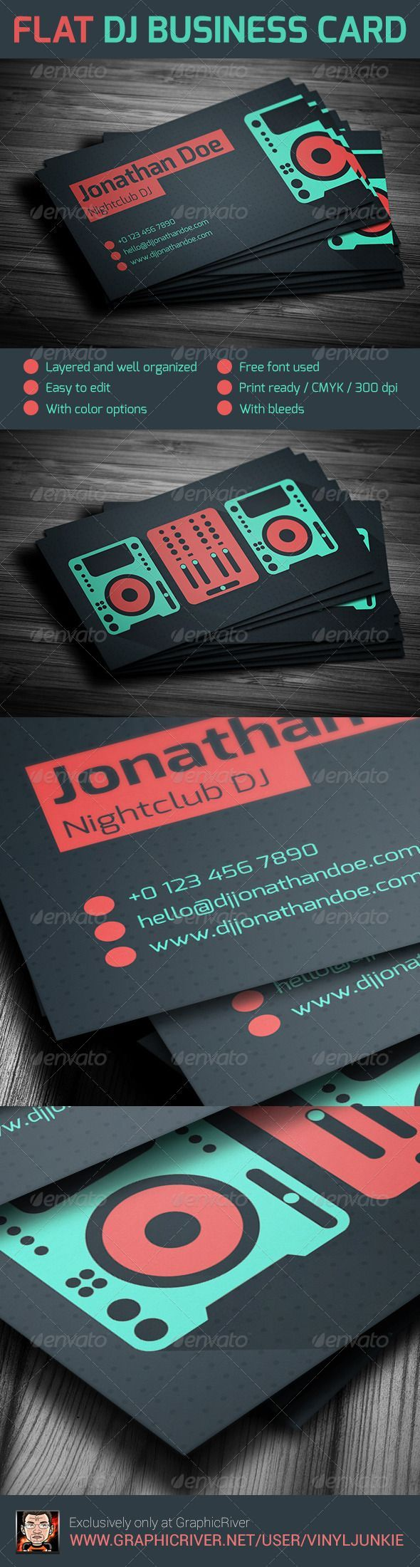 22 best dj business cards images on pinterest dj business cards flat dj business card business card template for professional djs and producers features layered customizable well organized easy to edit inch with cheaphphosting Gallery