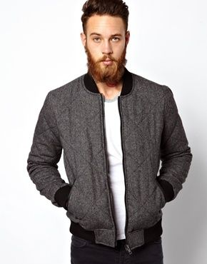 ASOS Quilted Wool Bomber Jacket