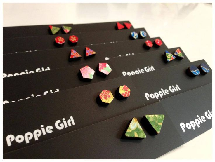Poppie Girl Origami Studs