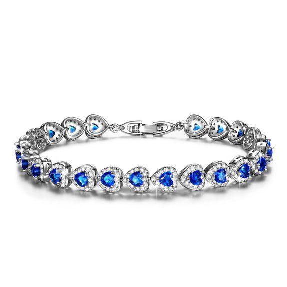 JDGEMSTONE Love Heart Ocean Blue Crystal Tennis Bracelet for Women Sapphire&Clear Birthstone Bangle k1E3jQg