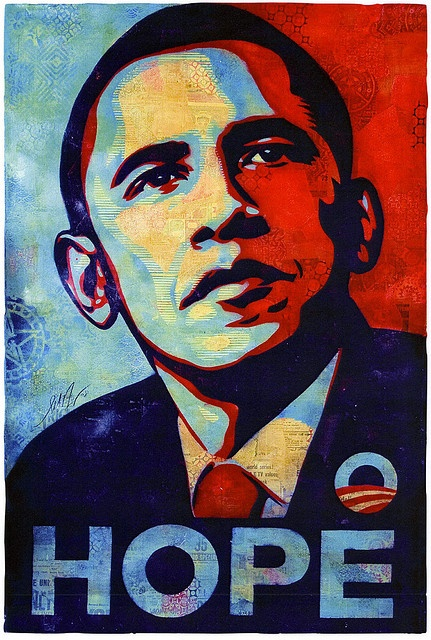 Obama Hope Stencil Collage by Shepherd Fairey