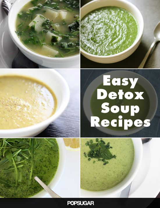 10 Low-Calorie Detox Soups- several are not vegan, but all can be easily veganized by substituting plant-based ingredients, like non-dairy yogurt