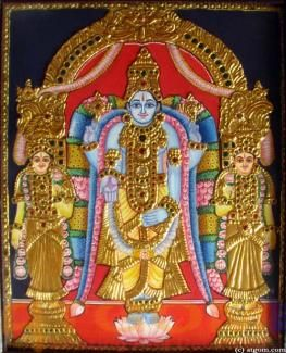 Vishnu with Sreedevi and Bhoodevi Tanjore Paintings - Tanjore Paintings