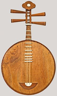 """Yueqin, China, late 19th century. Moon guitar. Two double-courses of strings. Ten frets. Circular, wooden body with metal tongue inside that vibrates sympathetically when instrument is played. The yueqin's name is also commonly translated as """"moon lute."""" Yueqin tradition dates to the Han dynasty (206 BC-220 AD). The instrument is most often found today in Beijing opera ensembles and as an accompaniment in dance songs. Played with a plectrum."""