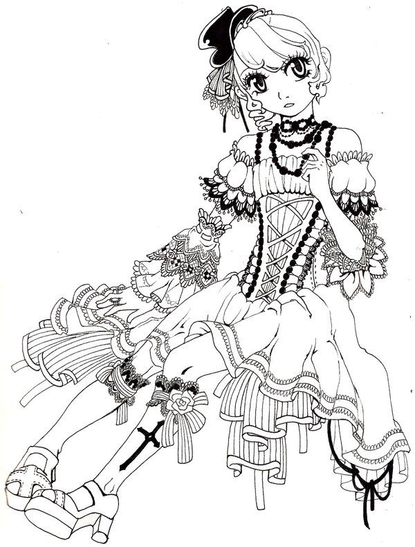34 best kleurplaten manga images on pinterest coloring books coloring pages and vintage - Manga coloriage elfe ...