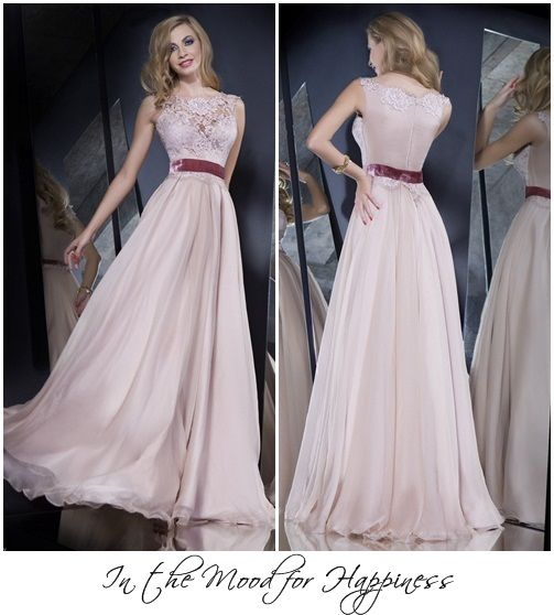 For your bridesmaids: delicate powder pink A-line chiffon dress.