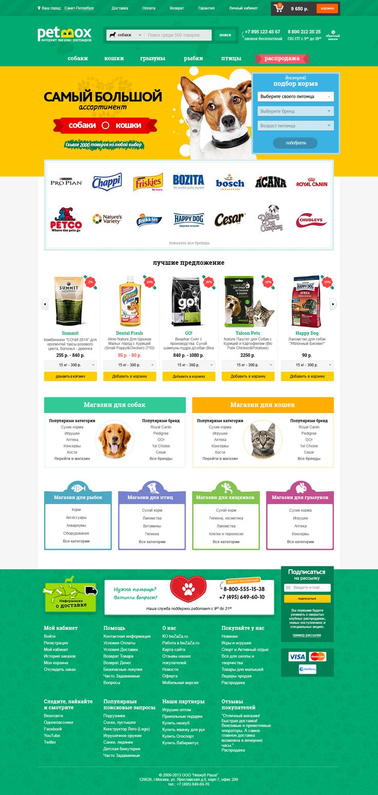 дизайн интернет магазина зоотоваров petbox.ru