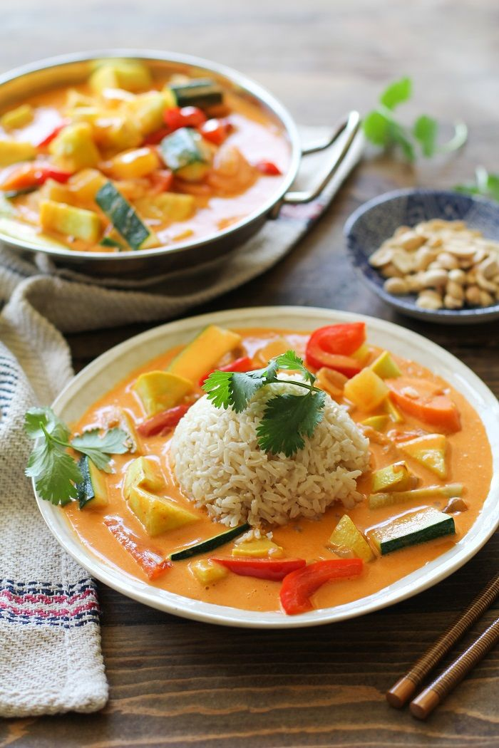 30-Minute Summer Vegetable Red Curry | TheRoastedRoot.net #vegan #vegetarian…. Very simple and fast to make, and delicious too! Could also add some cubed tofu for more protein.