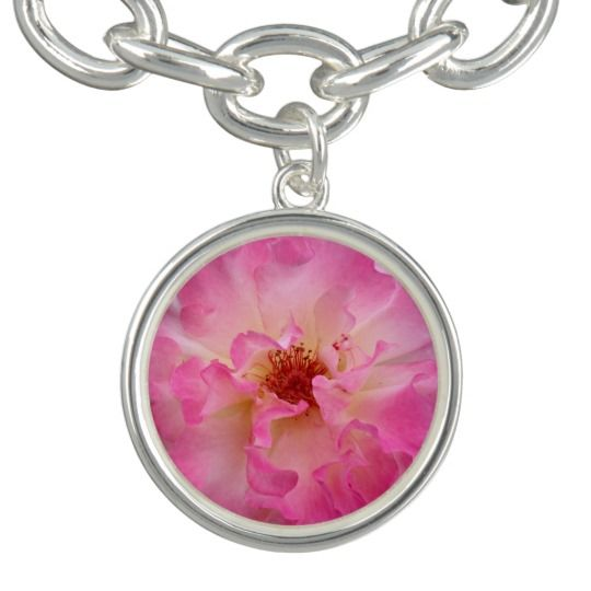 Pink Rose Silver Plated Charm Bracelet by www.zazzle.com/htgraphicdesigner* #zazzle #gift #giftidea #pink #rose #bracelet