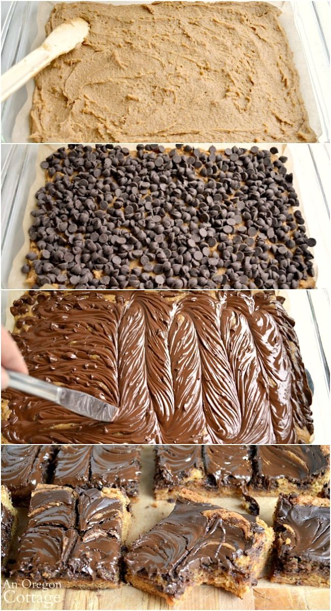 Classic Chocolate Peanut Butter Swirl Bars