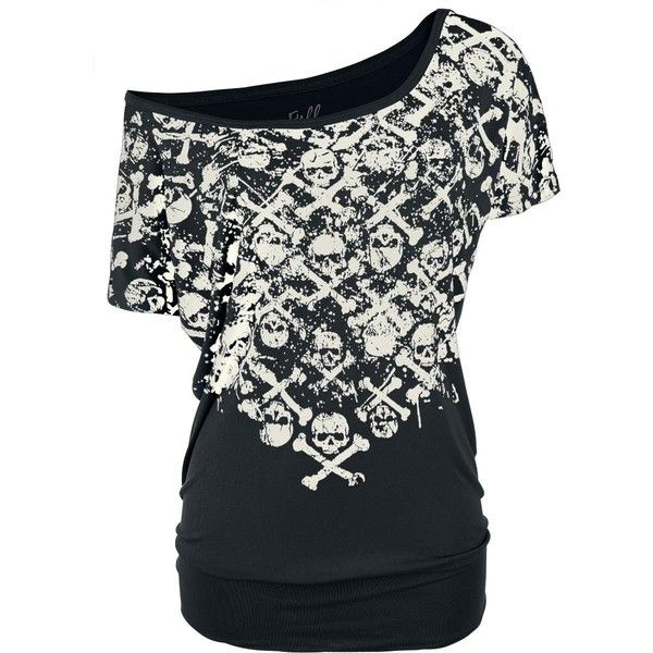 Crossbones Skully Shirt ($19) ❤ liked on Polyvore featuring tops, t-shirts, basic tee shirts, shirt top, basic tee-shirt, basic tshirt and basic t shirt