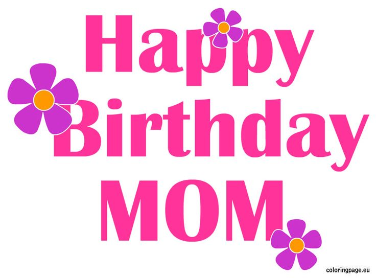 Happy Birthday Mom Flowers | Coloring Page