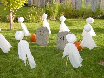 Make your own headstones with quickdry cement, cheap and easy, plus they look more realistic.  Directions included