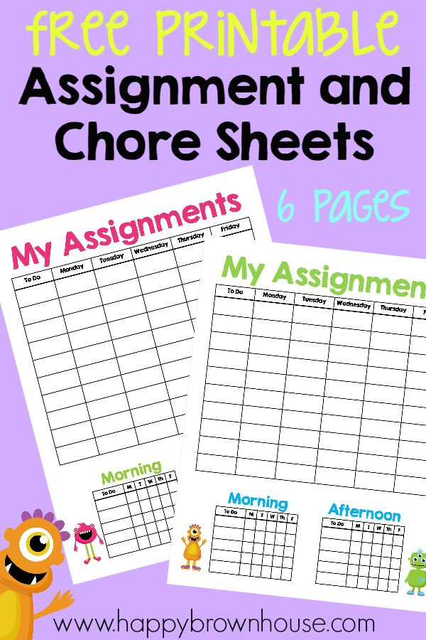 Free Printable Assignment and Chore Sheets to help your child be more independent during the homeschool day. Includes 6 printable pages.