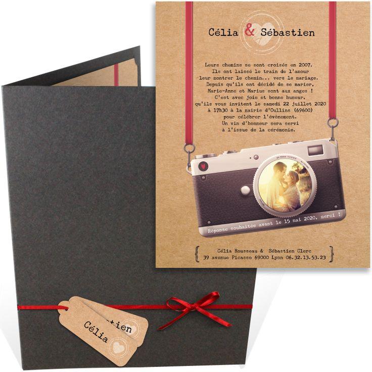 top wedding invitations016%0A Faire part mariage pochette dans un esprit vintage avec son appareil photo  qui rendra votre union    la fois unique et m  morable  ref