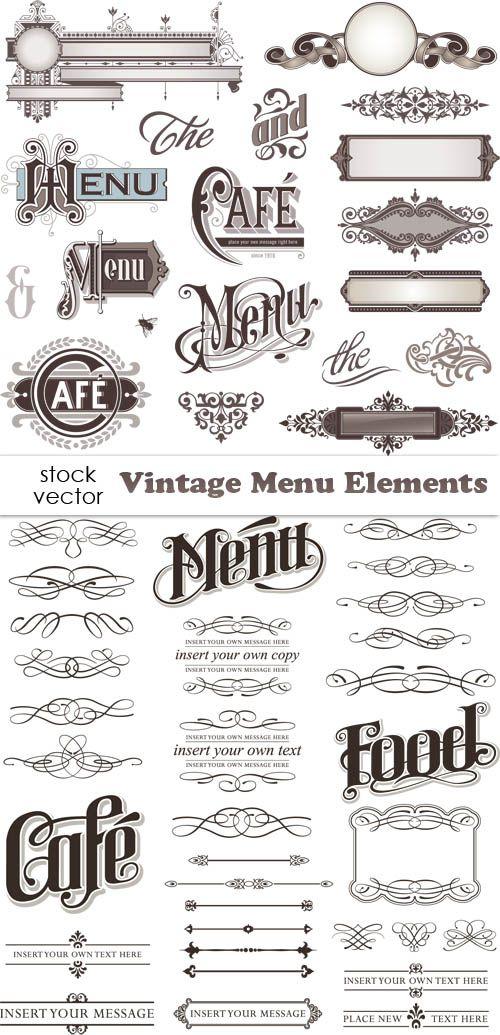 Vintage Menu Elements, typographie inspiration