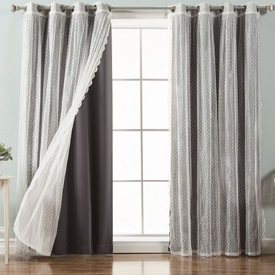 """Best Home Fashion, Inc. Dotted Tulle Lace and Solid Blackout Thermal Curtain Panels Color: Dark Gray, Size: 52"""" W x 84"""" L"""