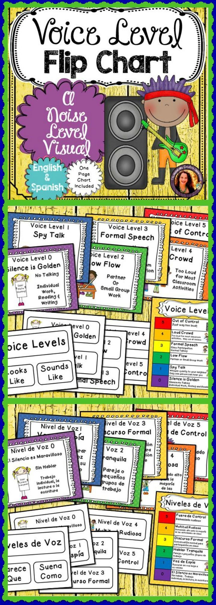 """These voice level flip charts are a fun and visual way to let kids know how loud they are expected to be in different situations.  """"Silence is Golden"""" is for silent reading while """"Formal Speech"""" might be allowed during your jigsaw.  Simply practice these levels with your class and record examples on an anchor chart.  A one page chart is also included!  These Voice Level Charts are in English AND Spanish!"""
