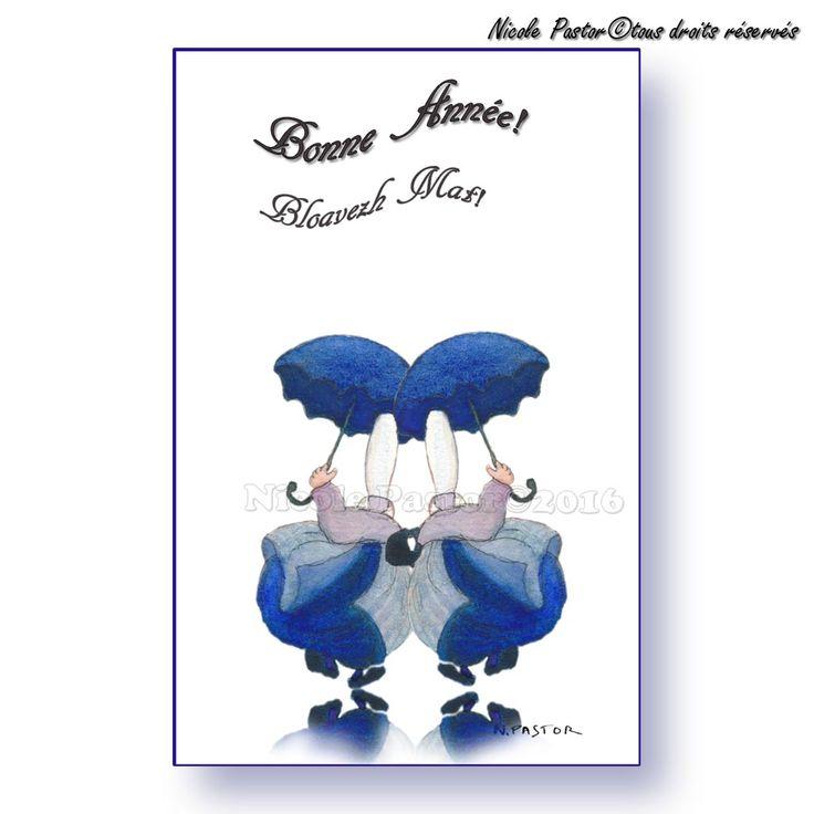 Mignonnette Bloavez Mat! Bonne Annee! Bigoudènes miroir sous la pluie. Aquarelle de Nicole Pastor.