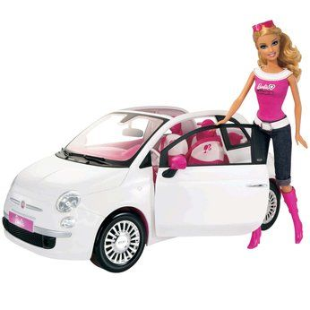 Barbie+Doll+Car | Girls will love this gorgeous Barbie doll with white Fiat car! Barbie ...