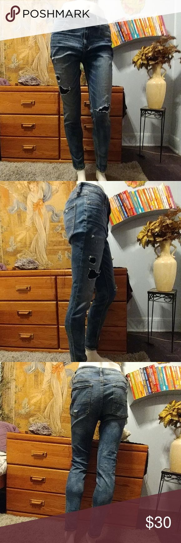 ?NWOT?American Eagle High Rise Jeggins American Eagle High Rise Jeggins.  ?Super Stretch ?Very soft Material ?Distressed with patched ?Front pockets look like pickets but Do Not Open.  ?Standard Length  ?No Lowballing ?No Trades ?Serious Buyers Please American Eagle Outfitters Pants