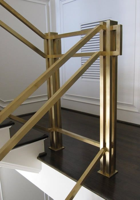 Modern Simplified Handrail For Stairs Made Out Of Metal Or Wood And Glass.  Clean Lines