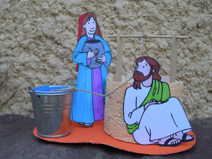 """Jesus and the samaritan...a verse is written on the blue """"water-strip"""""""