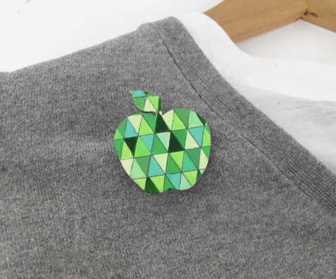 Geometric Brooch Green Apple