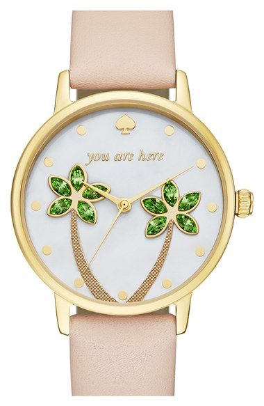 Free shipping and returns on kate spade new york 'metro' leather strap watch, 34mm at Nordstrom.com. Crystal-embellished palm trees sway over the crisp white dial of a whimsical round watch that gently reminds you that it's time to relax. A golden case and smooth leather strap complete the resort-ready look.